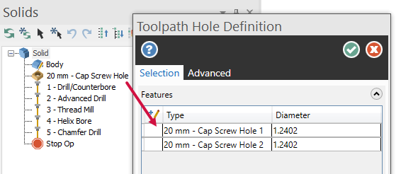 A Hole operation selected in the