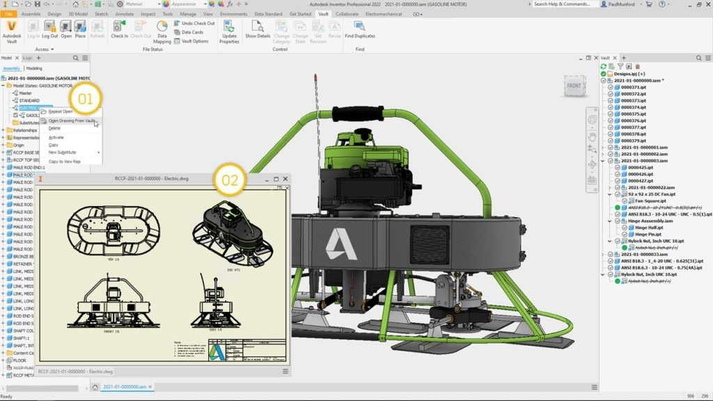 Autodesk Vault-2022.1 What's New - Model state support for opening drawings