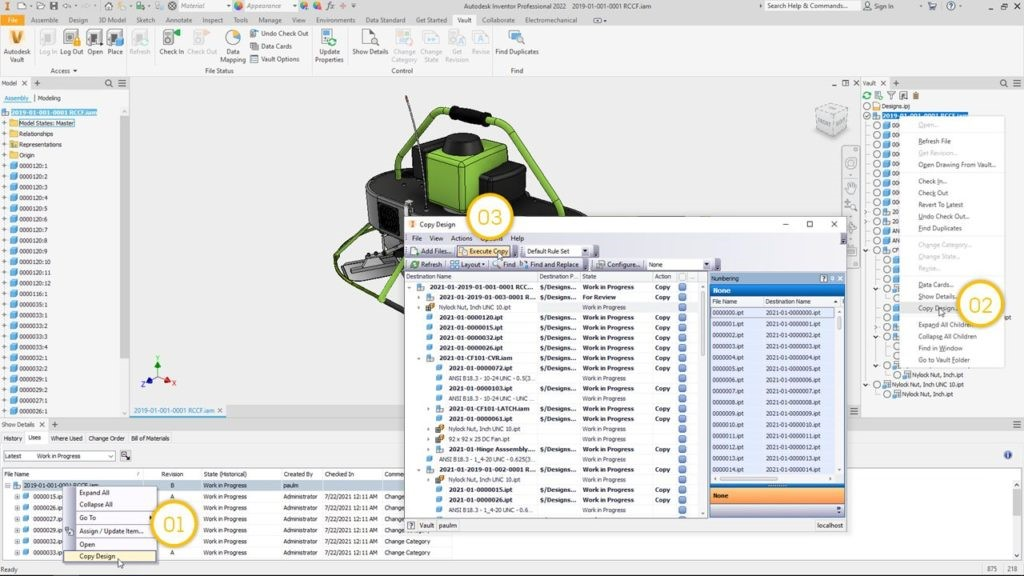 Autodesk Vault-2022.1 What's New - Copy Design from inside Inventor